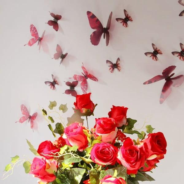 Trojrozmerné samolepky - motýlikovia, farba červená