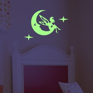 Samolepka svietiaca v tme Fanastick Fairy On The Moon