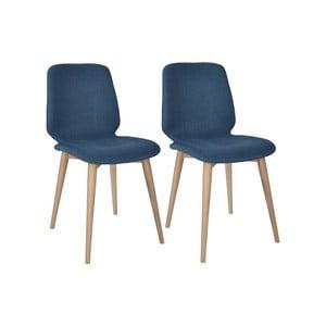 Sada 2 tmavomodrých jedálenských stoličiek s nohami z masívneho dubového dreva WOOD AND VISION Cut