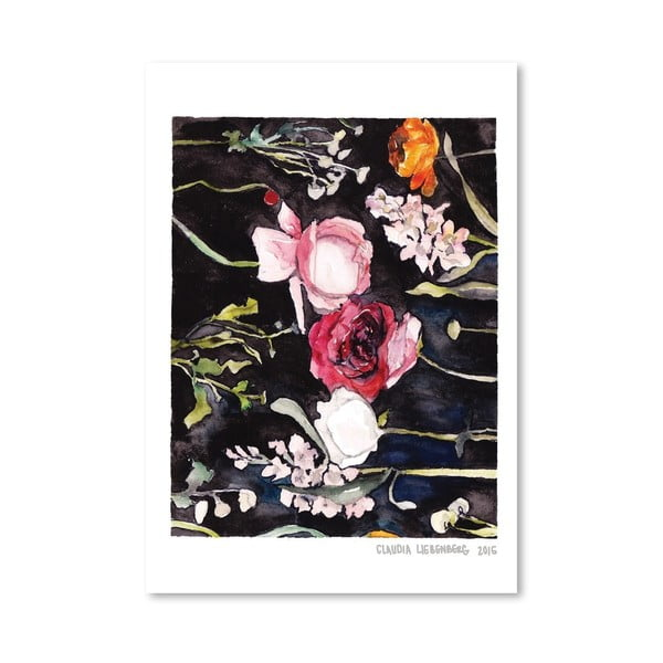 Plagát Blooms on Black II, 30x42 cm