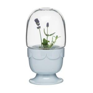 Kvetináč s poklopom Sagaform Greenhouse, levanduľovo modrý