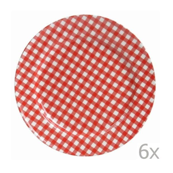 Sada 6 tanierov Sarah 17 cm, červená