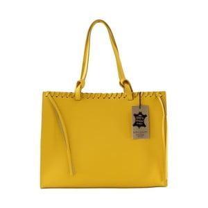 Žltá kožená kabelka Chicca Borse Sala