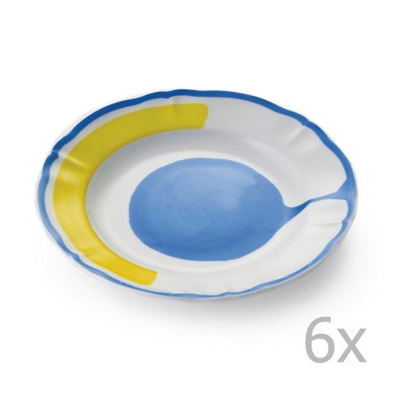 Sada 6 dezertných tanierov Giotto Yellow/Blue
