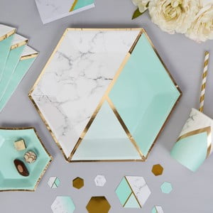 Sada 8 papierových tanierov Neviti Mint Colour Block Marble