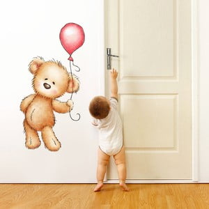 Samolepka na stenu Medvedík a balónik, 70x50 cm
