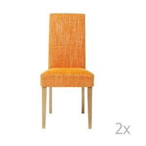 Sada 2 oranžových jedálenských stoličiek s podnožou z bukového dreva Kare Design Salty