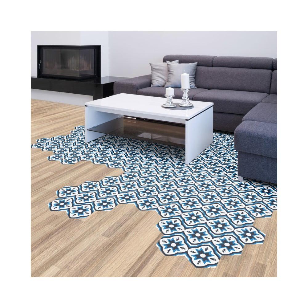 Sada 10 samolepiek na podlahu Ambiance Floor Stickers Hexagons Felica, 40 × 90 cm