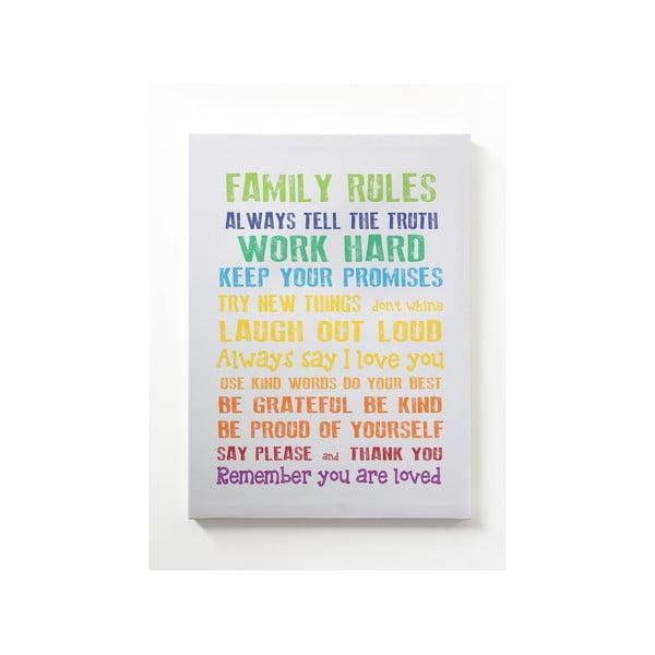 Obraz na plátne Family Rules, 50x70 cm, sivý