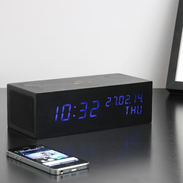 Reproduktor Click Clock s modrým LED budíkom, čierny