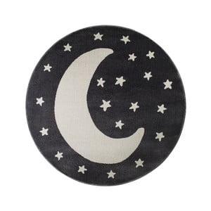 Čierny okrúhly koberec s motívom mesiaca KICOTI Moon, 80 × 80 cm