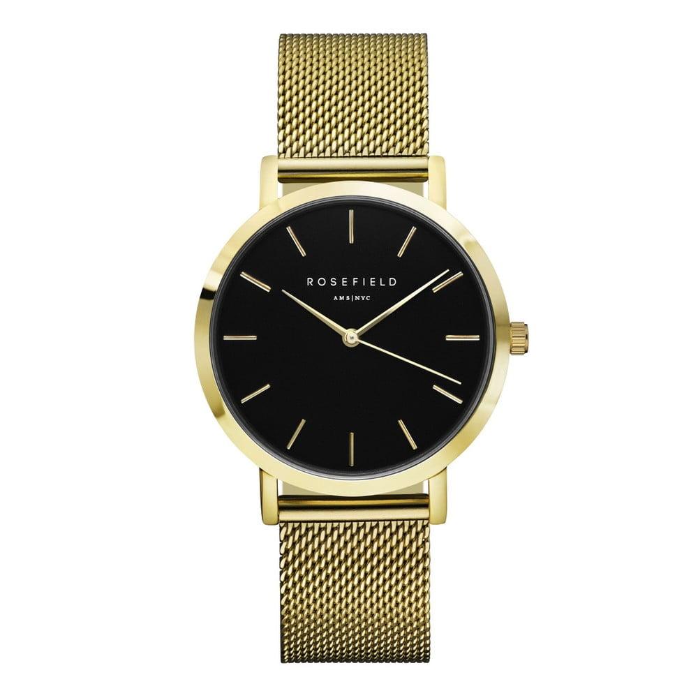 Zlaté dámske hodinky s čiernym ciferníkom Rosefield The Mercer  c65442e0ba