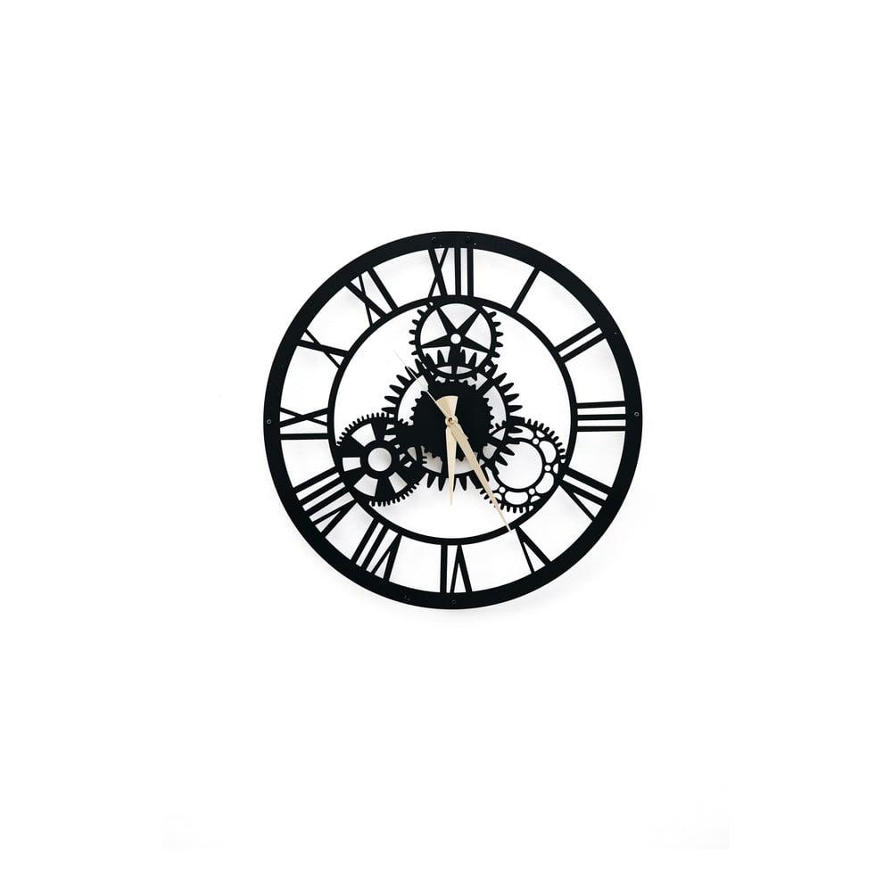 Čierne nástenné hodiny Davin Clock, ⌀ 48 cm