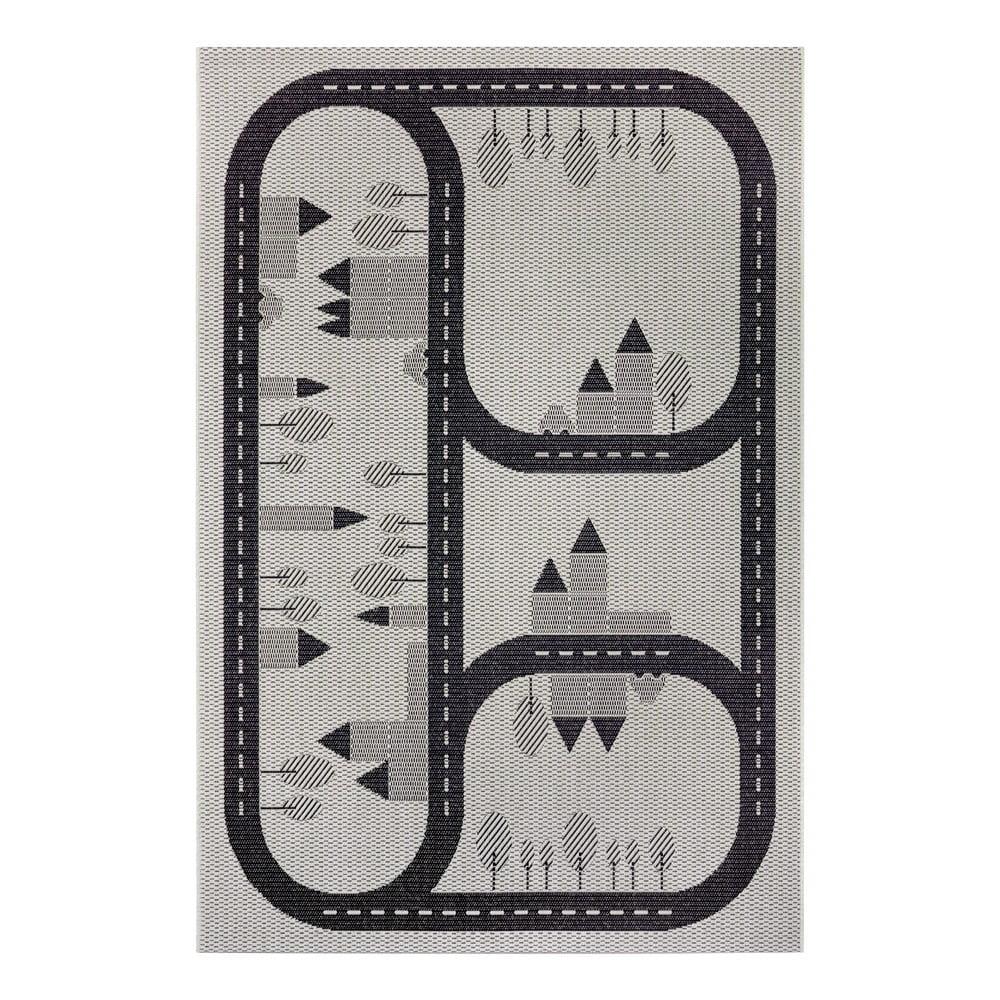 Čierny detský koberec Ragami Roads, 80 x 150 cm
