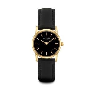Dámske čierne hodinky s koženým remienkom a ciferníkom v zlatej farbe Eastside Elridge