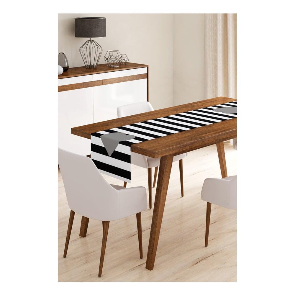 Behúň na stôl z mikrovlákna Minimalist Cushion Covers Stripes with Grey Heart, 45 × 145 cm