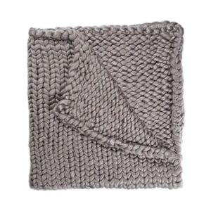 Sivá ručne pletená deka Chunky Plaids, 160 x 210 cm