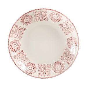 Červeno-biely kameninový polievkový tanier Côté Table Faro, ⌀24 cm
