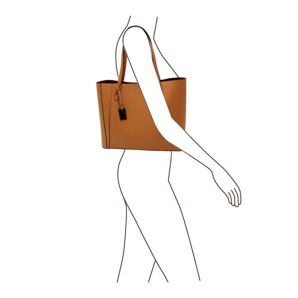 ... Horčicovohnedá kabelka z pravej kože Andrea Cardone Kesner ... b595508416c