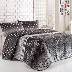 Sada prikrývky cez posteľ a vankúša Buse Grey, 160x220 cm