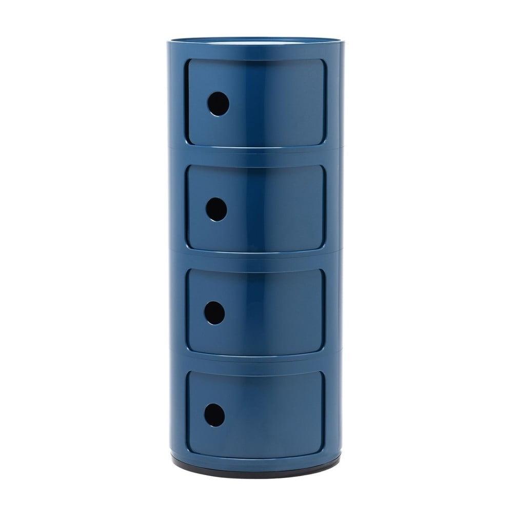 Modrý kontajner so 4 zásuvkami Kartell Componibili