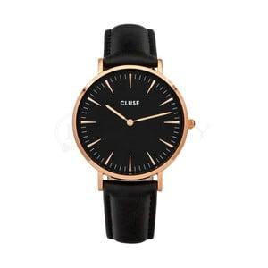 Dámske čierne hodinky s koženým remienkom a detaily vo farbe ružového zlata Cluse La Bohéme