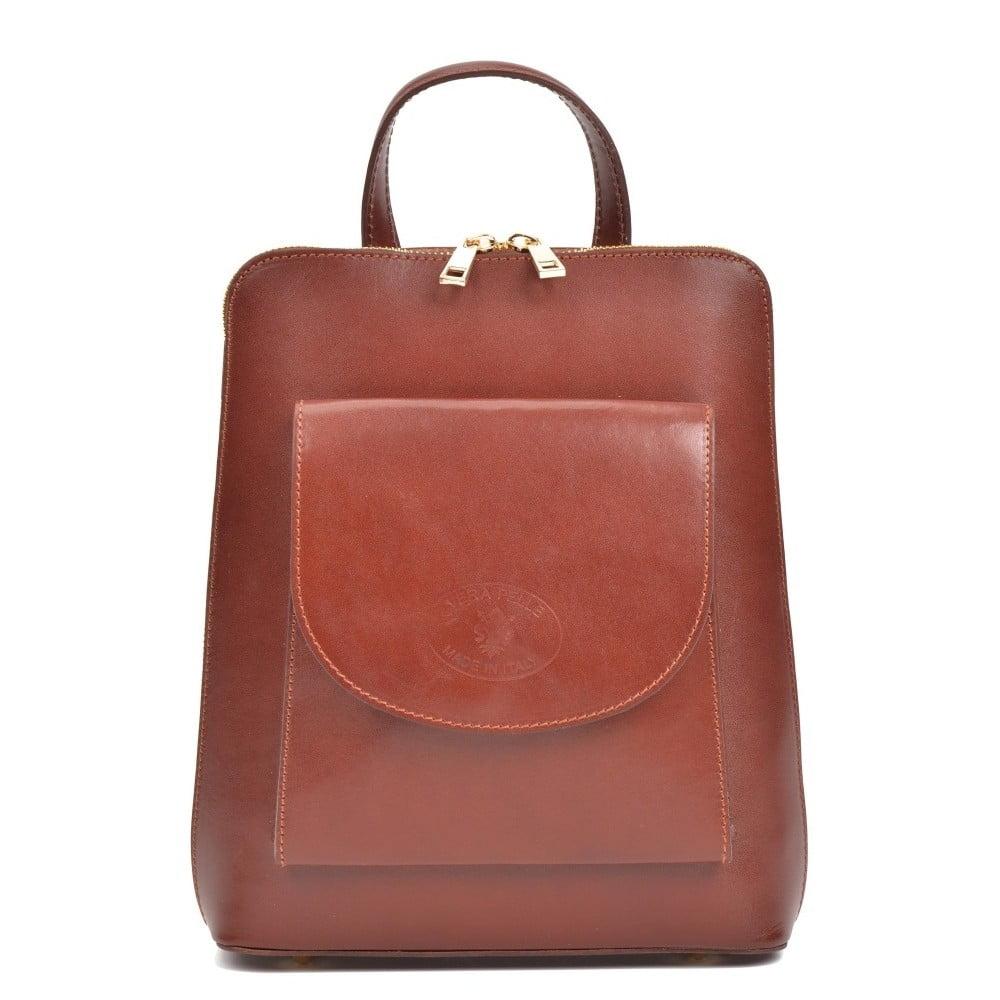 Tmavočervený kožený batoh Anna Luchini Zunna