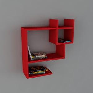 Polica Puss Book Red, 22x60x65,5 cm