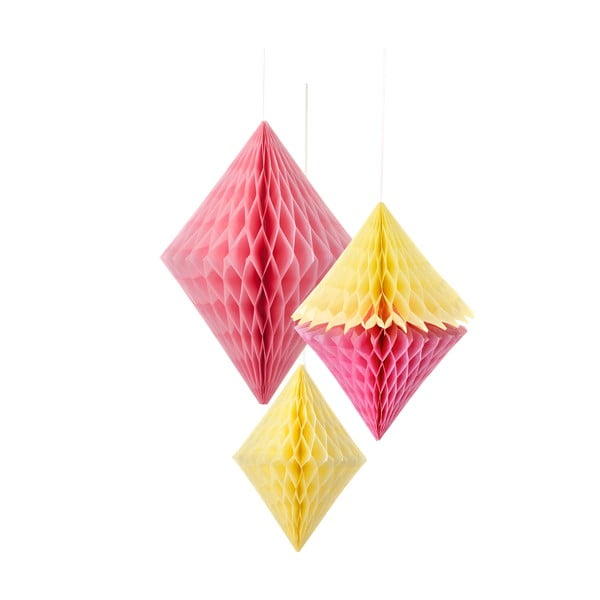 Papierová dekorácia Honeycomb Diamond Yellow&Pink, 3 kusy