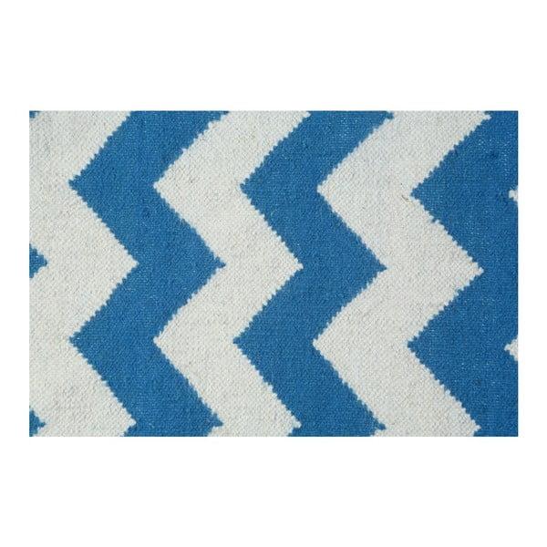 Vlnený koberec Geometry Zic Zac Dark Blue & White, 160x230 cm