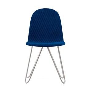 Tmavomodrá stolička s kovovými nohami IKER Mannequin X Stripe