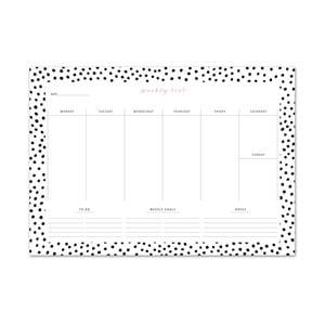 Týždenný plánovač Leo La Douce Black Dots, 21x29,7cm
