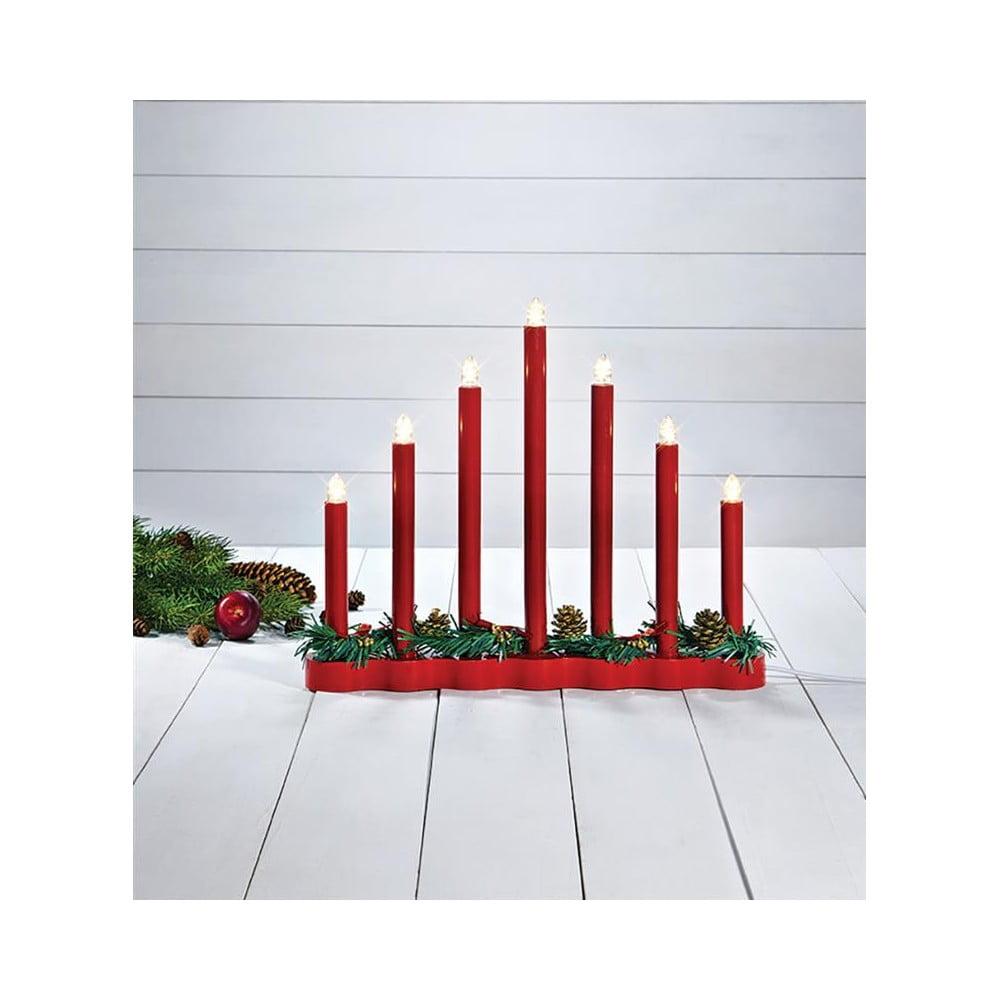 Červený svietnik Markslöjd Hol, výška 30 cm