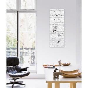 Magnetická tabuľa s hodinami White Brick, 30 x 80 cm