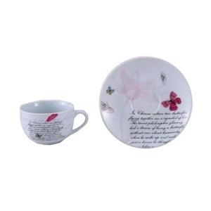 Set 2 porcelánových šálkov s tanierikmi Bergner Butterfly