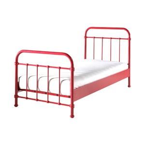 Červená kovová detská posteľ Vipack New York, 90 × 200 cm