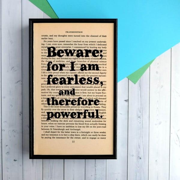 Plagát v drevenom ráme Frankenstein Fearless