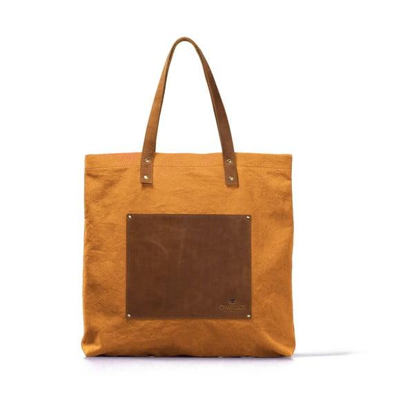 Kožená vintage maxi taška O My Bag Lou's, horčicová/hnedá