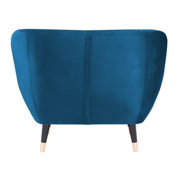 Modré kreslo s čiernymi nohami Mazzini Sofas Amelie