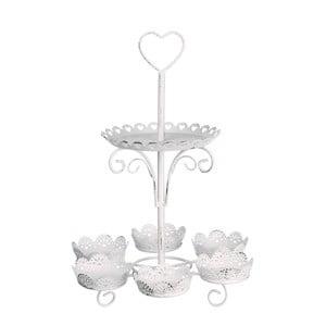 Biely kovový etažér Ixia Cupcakes