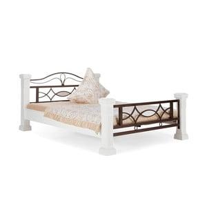 Biela posteľ z dreva z kaučukovníka SOB Constantin, 140x200cm