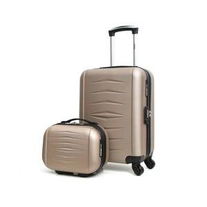 Set béžového cestovného kufora na kolieskach a kufríka INFINITIF