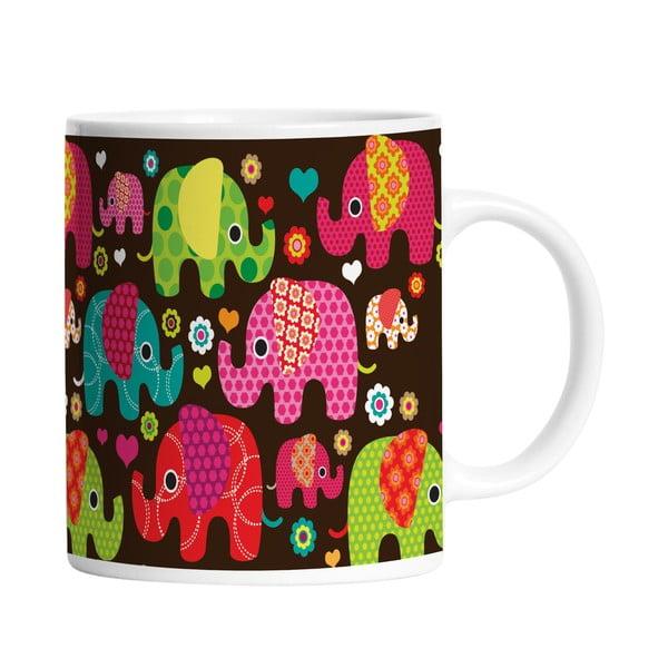 Keramický hrnček Elephants in Black, 330 ml