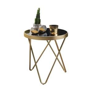 Čierny príručný stolík s nohami v zlatej farbe Skyport Dana, ⌀ 42 cm