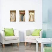 3D samolepky na stenu Nisha Vases à fleurs, 3 ks