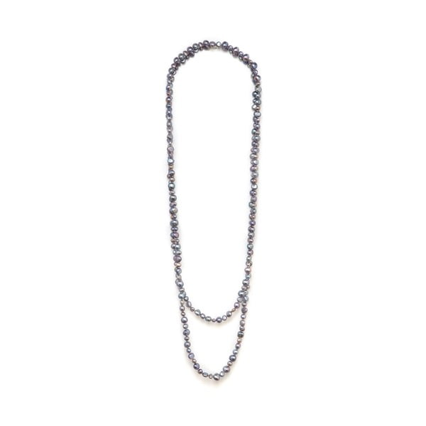Sivý perlový náhrdelník GemSeller Polygala