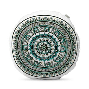 Tyrkysovomodrý vankúš HF Living Mandala, ⌀ 50 cm