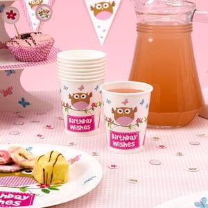 Sada 8 papierových pohárikov Neviti Little Owls Pink
