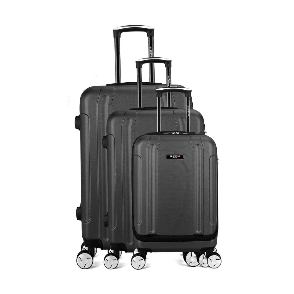Sada 3 čiernych cestovných kufrov na kolieskach Bluestar Baltimore