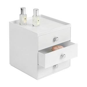 Biely úložný box s 3 zásuvkami InterDesign, výška 18 cm
